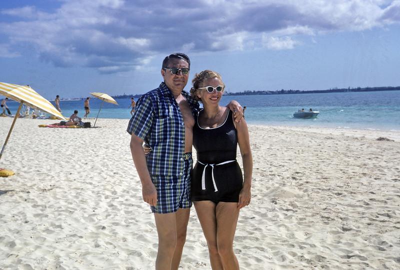 Adele and Mel, 1967, on Nassau beach with NFAA