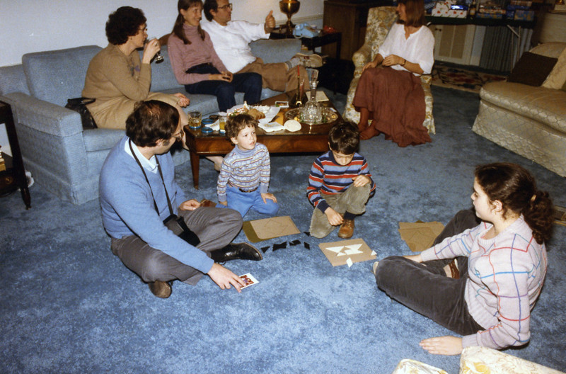 Hanukah 1985 all 3 sons Dick uses tangrams with Ben and Matt
