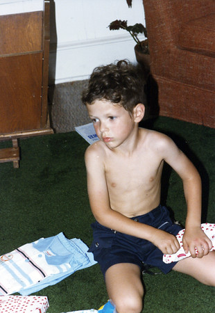 Matt's birthday, 1986.  He finally got a shirt.