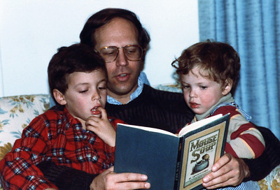 Dick reads to Ben and Matt around 1981