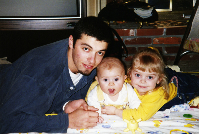 Ben with Hannah and Julie, 2000