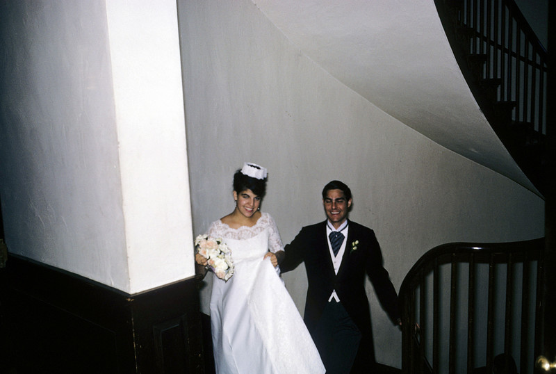Jackie in wedding dress Harvard Cambridge 1965 graduation