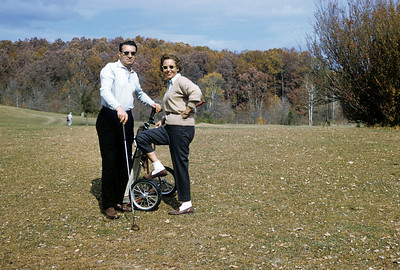 Adele and Mel on the golf course