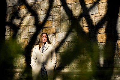 Postdoctoral Scientist Caroline Albertin poses for a portrait outside of the Marine Biological Laboratory at the Woods Hole Oceanographic Institution in Woods Hole, MA on December 12, 2018. For The Washington Post