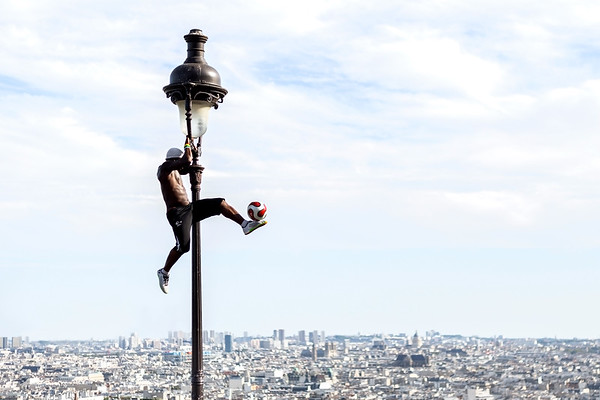 Guinean Footballer Iya Traore Performing Football Tricks in Paris