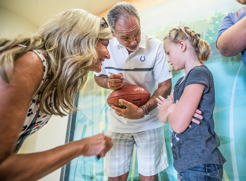 Colts head coach Chuck Pagano and Mascot Blue visit patients in the Burn Unit at Riley Children's Hospital on July 26, 2017. (IU Health/Evan De Stefano)
