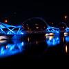 blue light foot pedestrian bridge