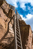 The intimidating ladder (modernized for tourist convenience) at the Puye Cliff Dwellings, near Española, New Mexico.