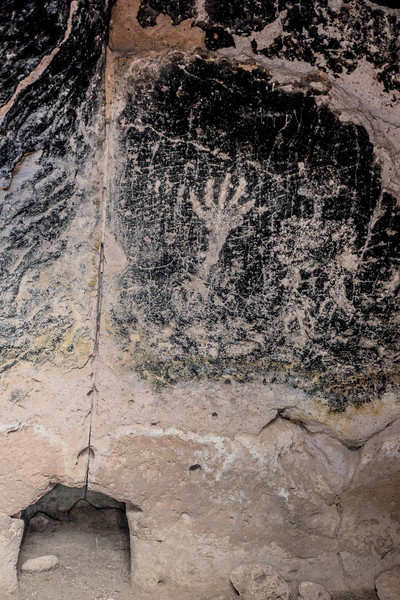 Petroglyphs at the Puye Cliff Dwellings near Española, New Mexico.
