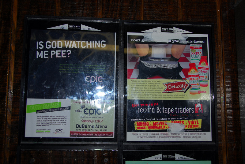 I could think of worse ads to place at a urinal.  Not too many worse, but a few.