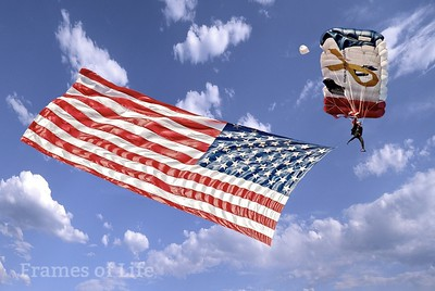 Parachuting with Flag