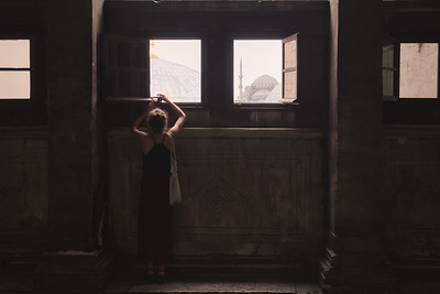 Tourist in Hagia Sophia. Istanbul, Turkey
