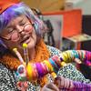 DSC_8101578  Caversham peripatus (Peripatoides 'Dunedin') Dunedin art teacher Kerry Mackay encourages children at Macandrew Bay School to think creatively, when making their own colourful 'peripatus' out of wool. Otago Peninsula *