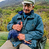 11000-05101 Takahe (Porphyrio hochstetteri) with it's re-discoverer, the late Dr Geoffrey Orbell (1908-2007). This picture was taken almost fifty years after Orbell re-discovered the 'Notornis', near this spot on November 20,1948. 'Doc' Orbell was ninety at the time Rod took this photo in Takahe Valley, Murchison Mountains in October 1998 *