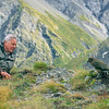 11001-72730 Kea or mountain parrot (Nestor notabilis) with Sir David Attenborough during the filming for 'Life of Birds' *
