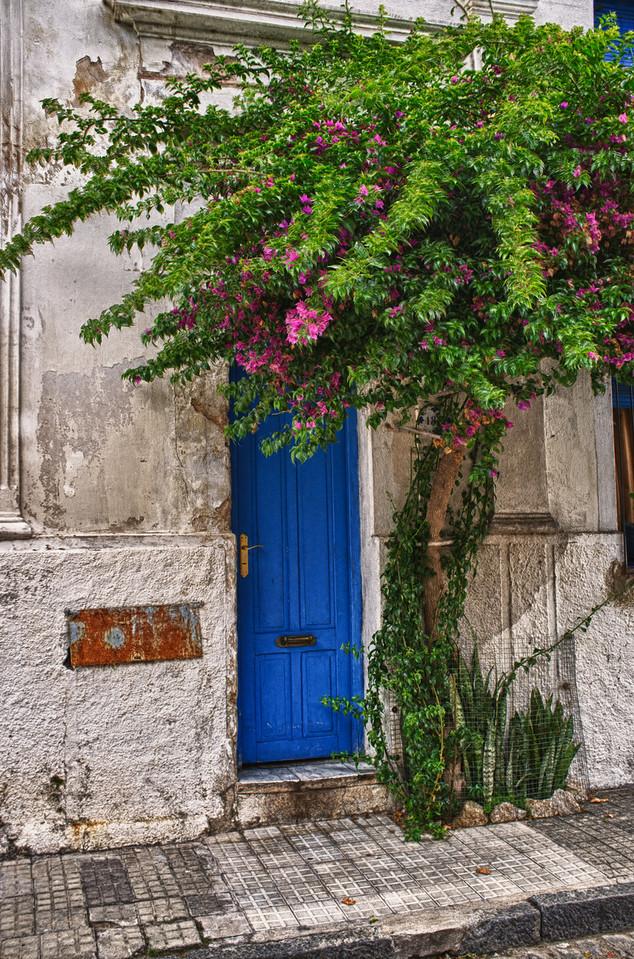 Blue door, Colonia, Uruguay