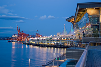 Vancouver Convention Centre and Canada Place at dusk