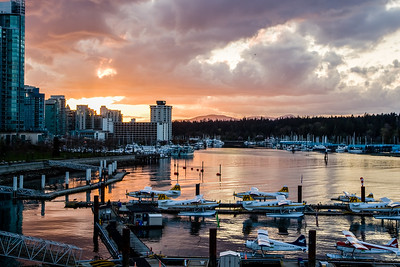 Vancouver's Coal Harbour at sunset