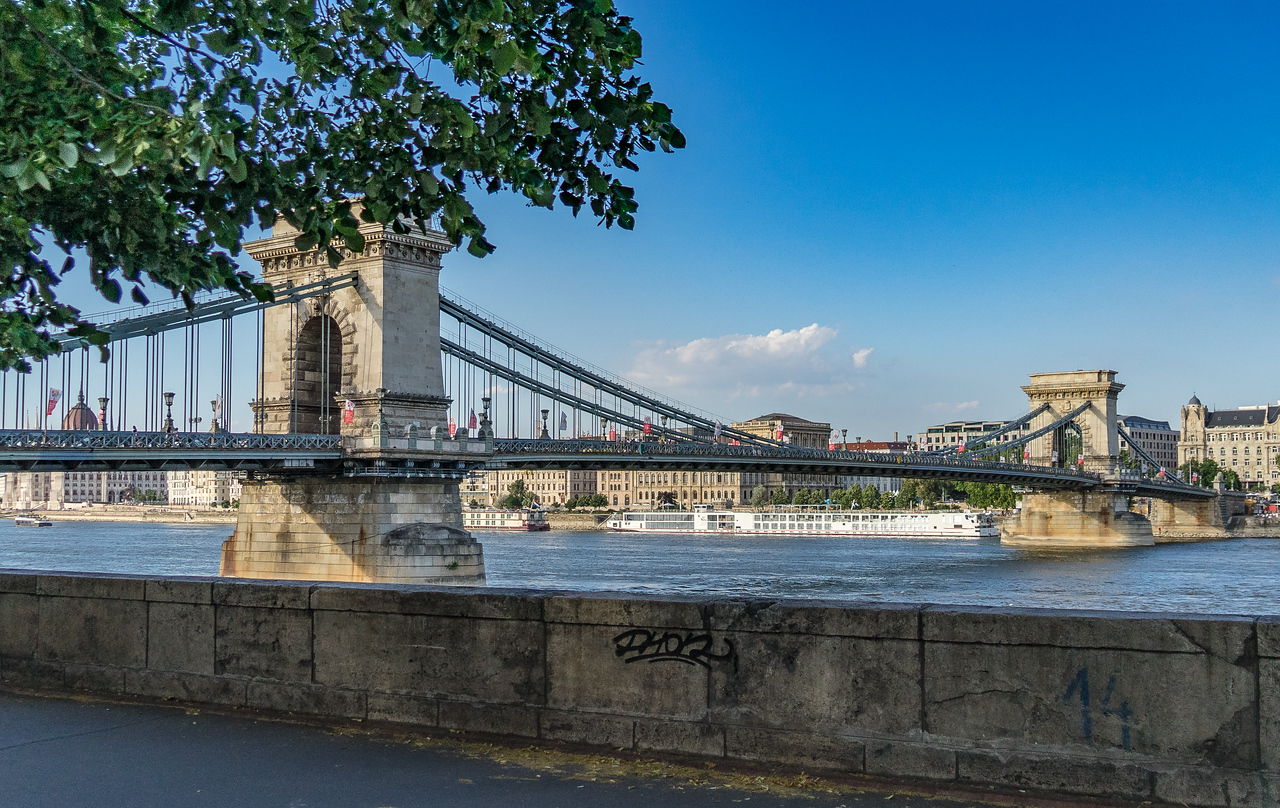Chain Bridge across the Danube, Budapest from Buda side