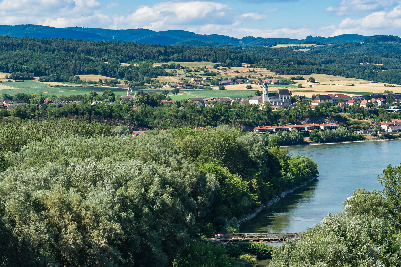View of Danube and Wachau Valley from Benedictine Abbey in Melk