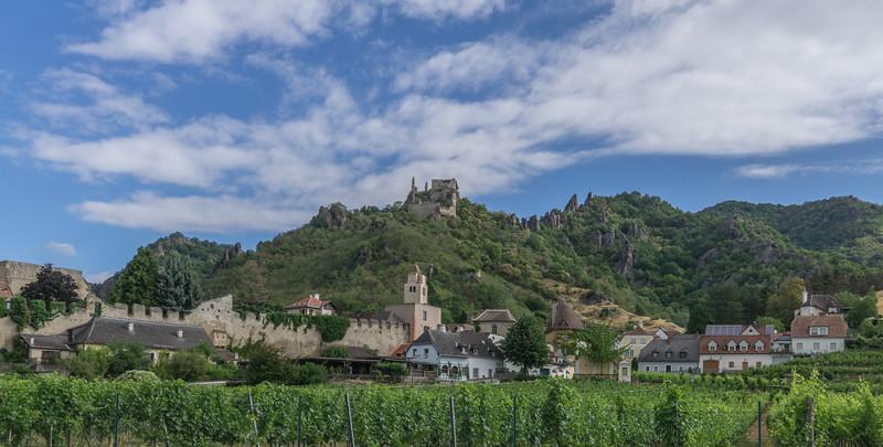 Durnstein Austria with ruins of Durnstein castle