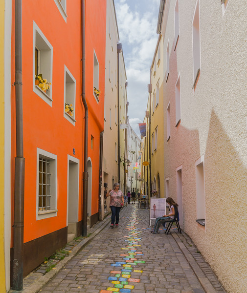 Narrow street in Passau, Germany