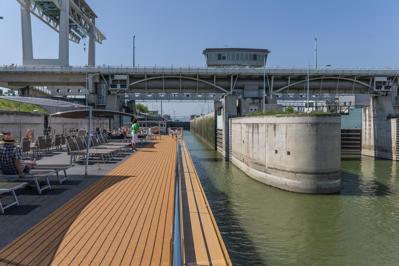 Entering a lock on Danube east of Regensburg