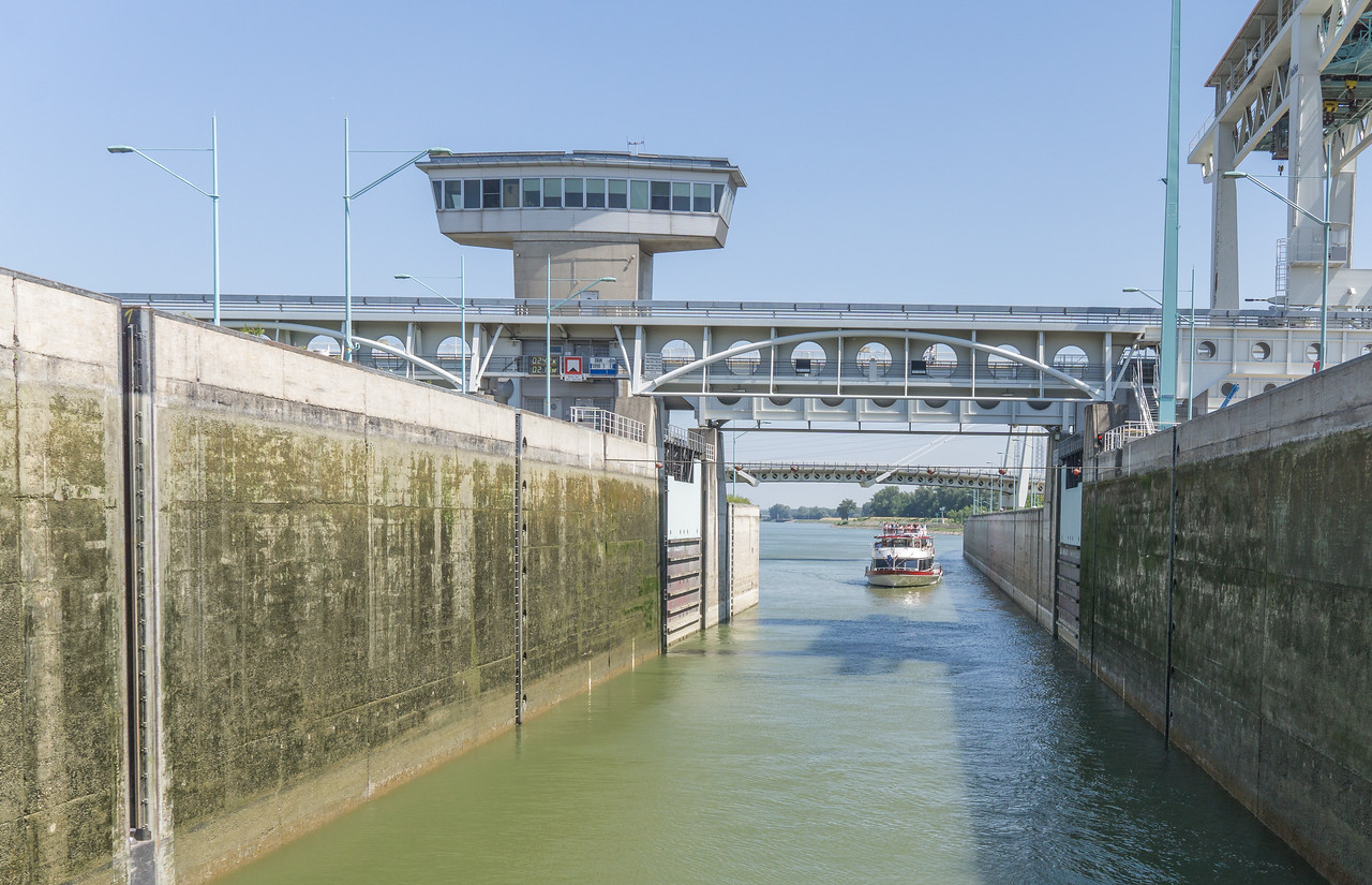 Second boat entering lock