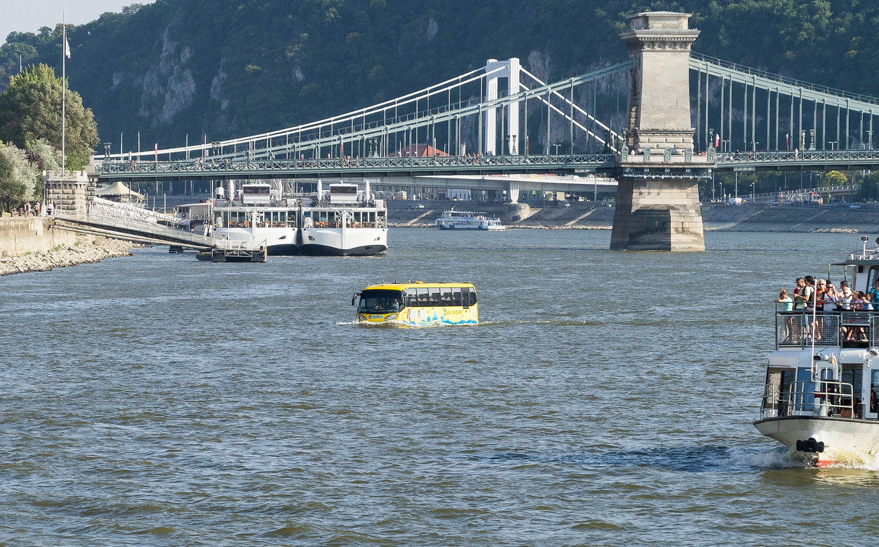RiverRide Bus crossing Danube. Chain and Elizabeth Bridges in background.