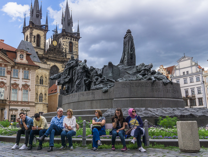 Jan Hus Memorial, Old Town Square, Prague with Tyn Church in background