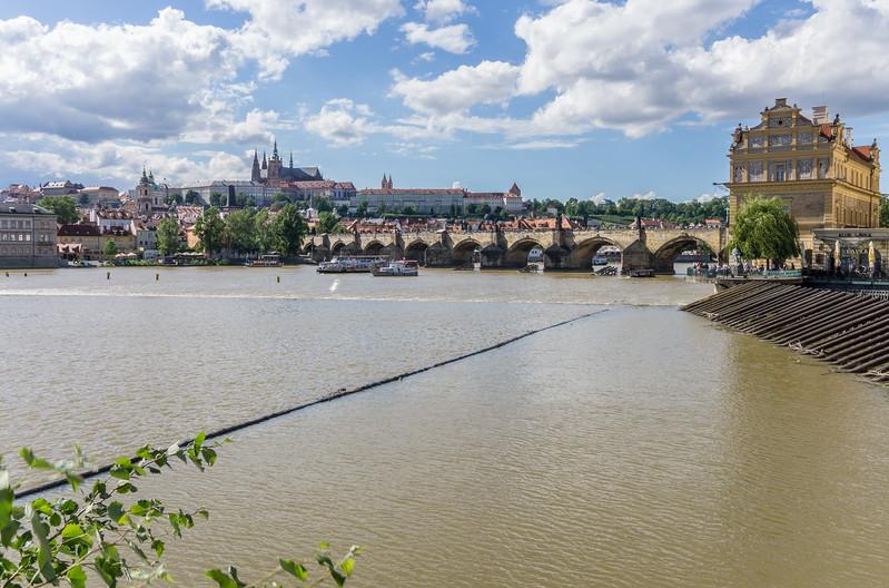 Charles Bridge over Vltava River, Prague Castle in background