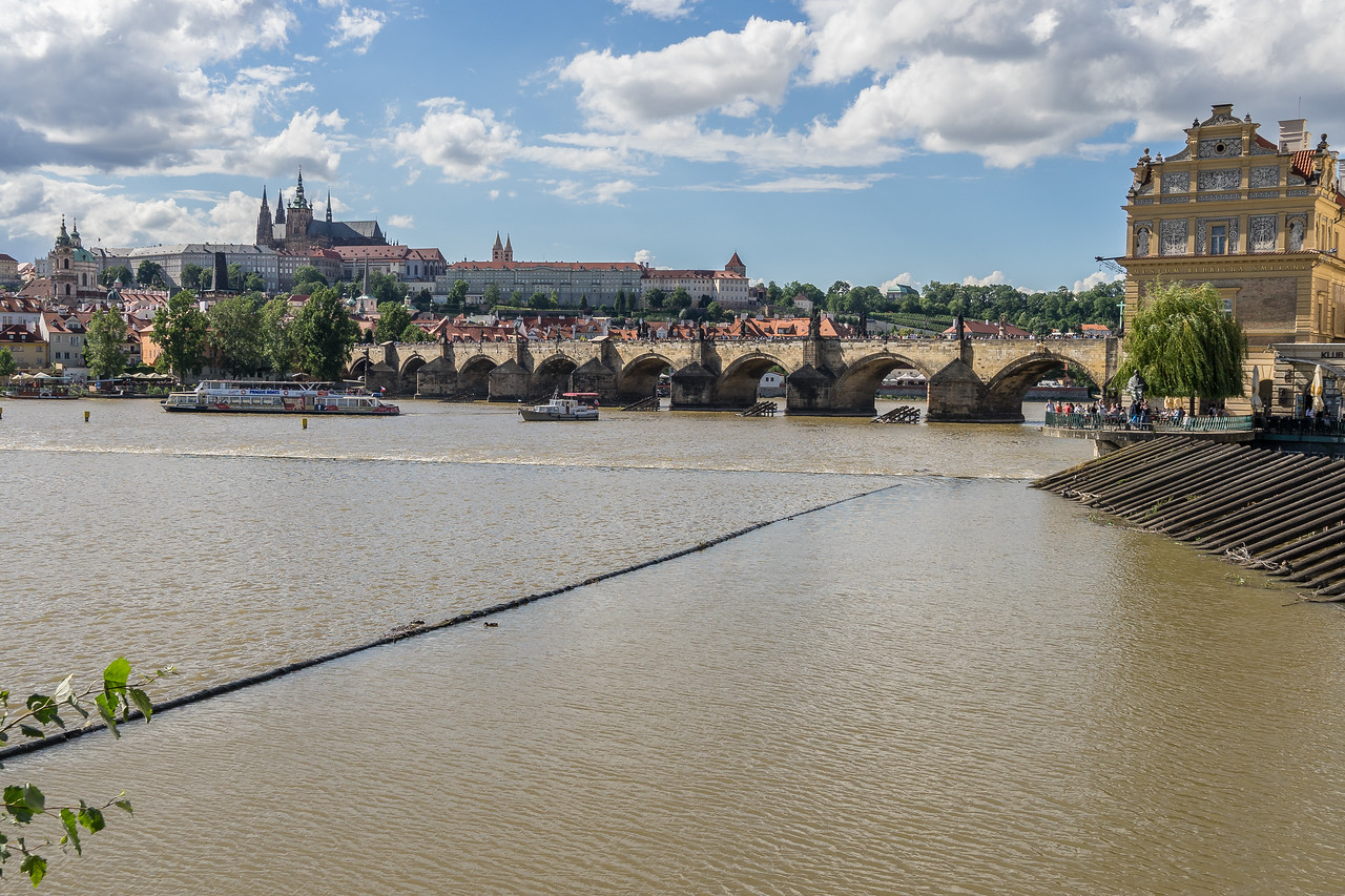 Charles Bridge over Vltava River, Prague Castle in background