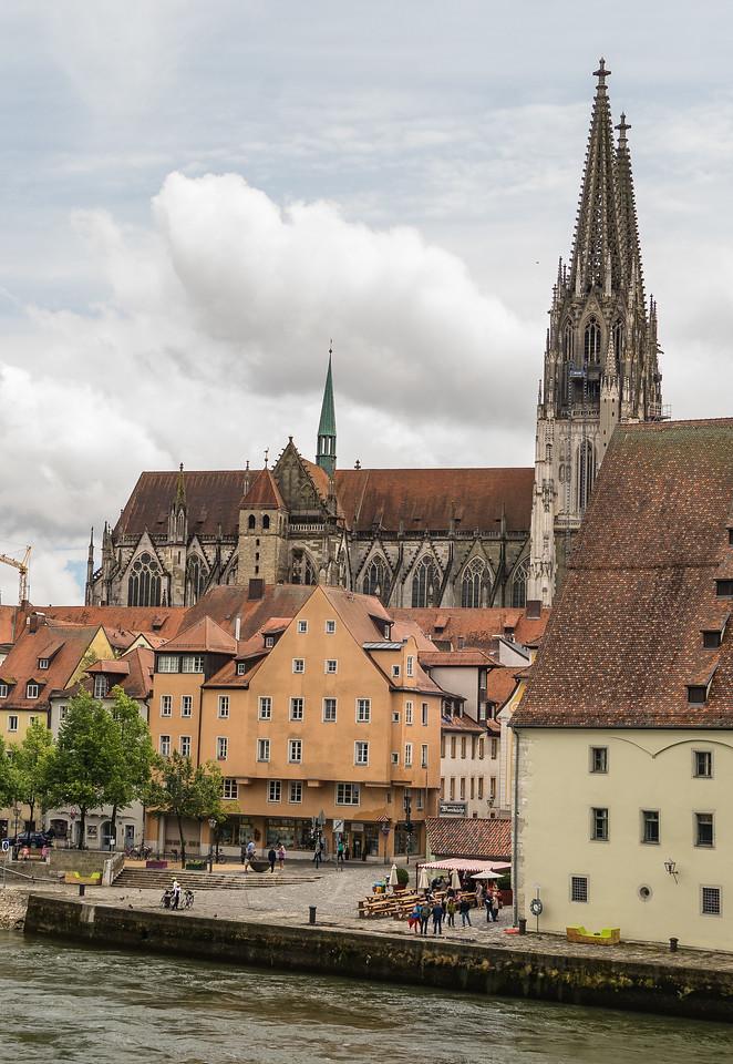 Regenesburg Cathedral from Stone Bridge