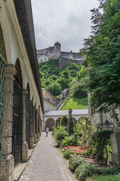 St. Peter's Cemetery and Catacombs where Von Trapp family hid in SoM with castle in background