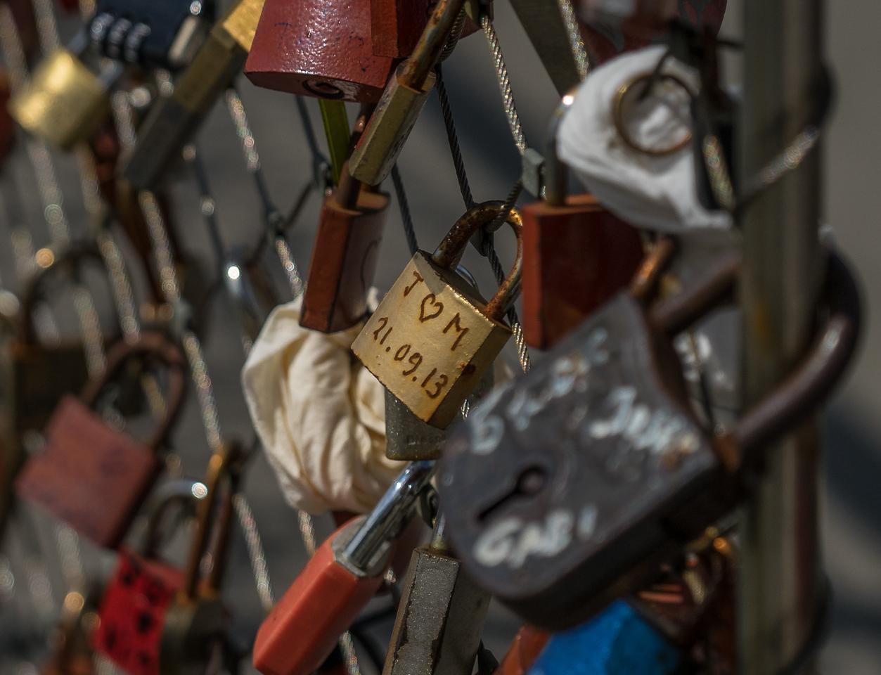 """Love Locks"" on the Makartsteg bridge over Salzach Rive in Salzburg"