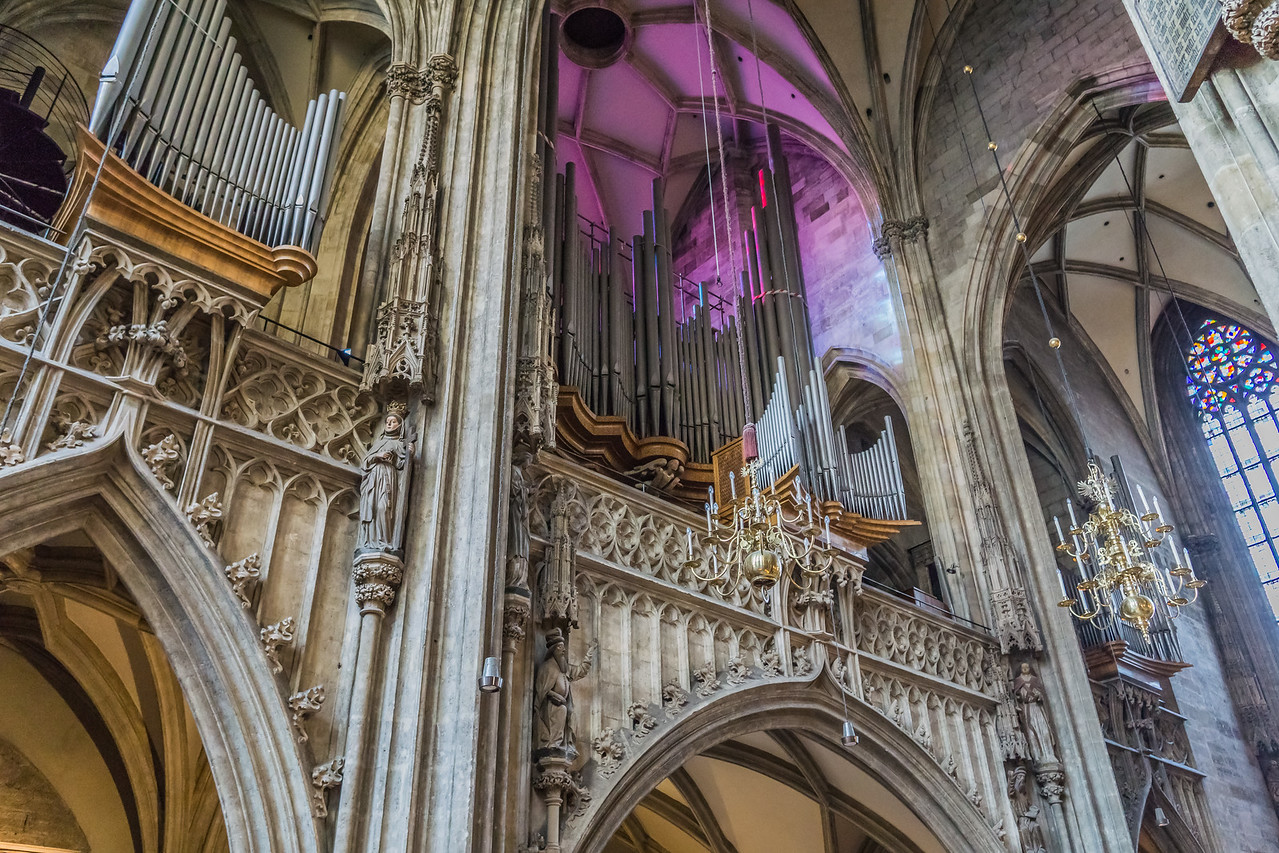 Huge organ in St. Stephen's Cathedral, Vienna