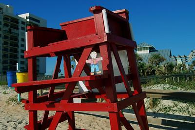 006 Flat Stanley playing lifeguard on Daytona Beach