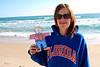 005 Flat Stanley makes friends with a Florida Fan on Daytona Beach