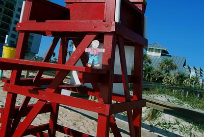 007 Flat Stanley playing lifeguard on Daytona Beach