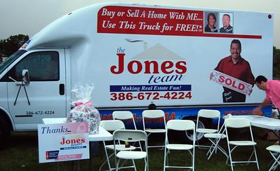 004 VIP Printing and Jones Realty booth with Roger at Making Strides Walk Daytona Beach