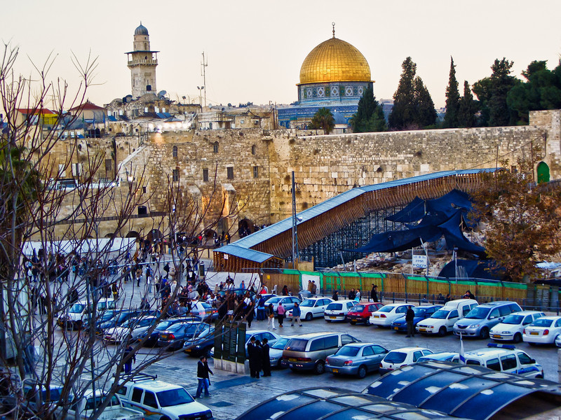 View at dusk from Jewish Quarter towards Kotel