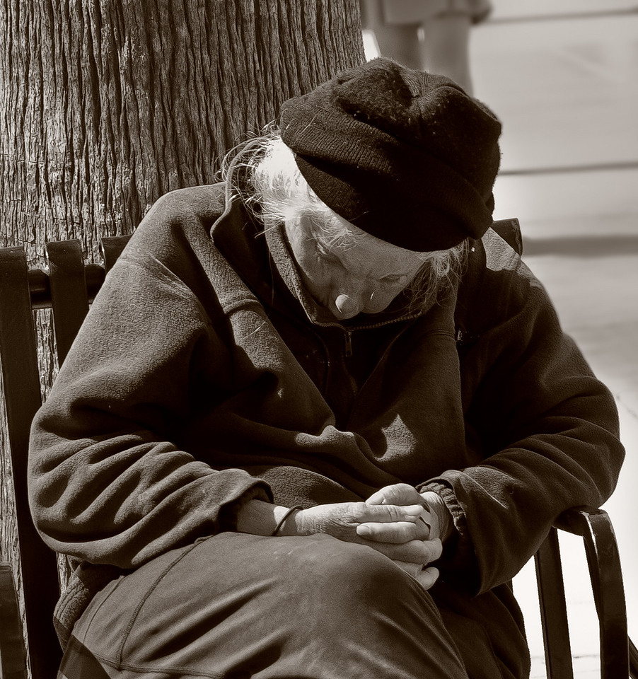Homeless woman in Santa Monica
