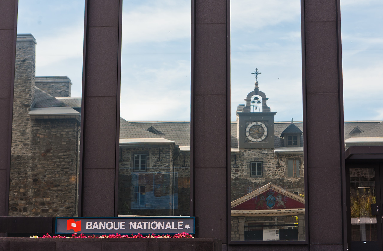 Reflection in Window of Bank