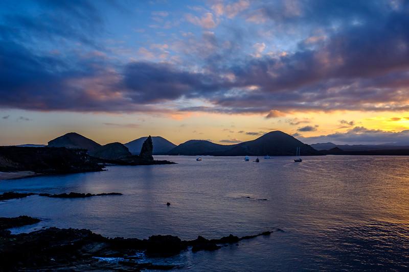 Pinnacle Rock, Bartolome Island, at sunset. ND filter used