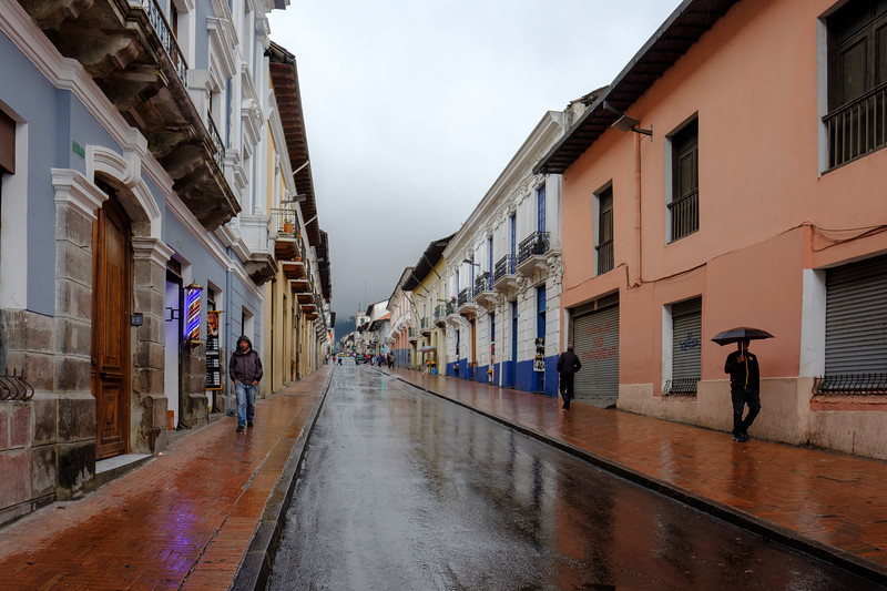 Historic old town Quito on a rainy day