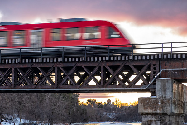 Ottawa's O Train leaving Carleton Station at sunset
