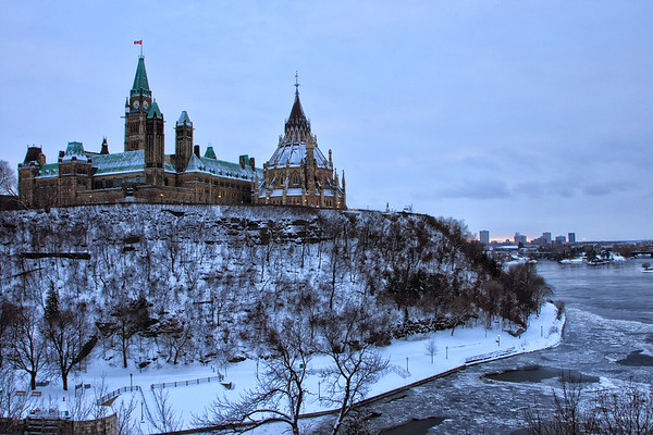 Parliament Hill and Library of Parliament in Winter