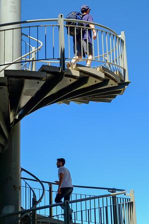 Pedestrians on McKenzie King spiral staircase