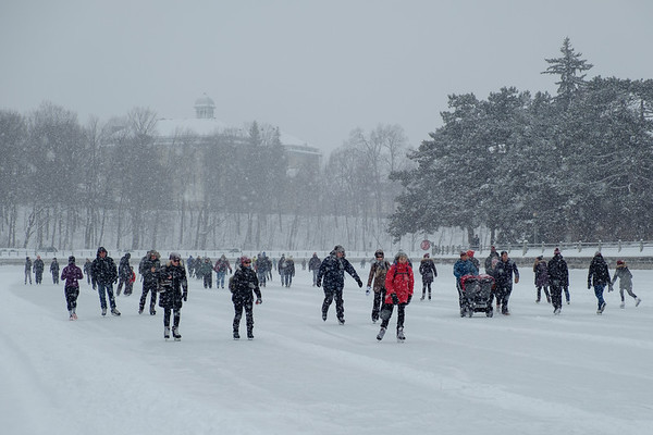 Skaters enjoying their outing despite heavy snow