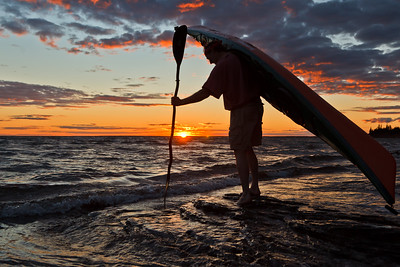 Silouetted Kayaker
